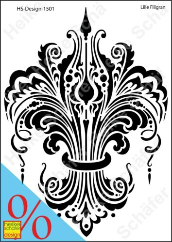 Galería de símbolos-stencil a4 049-1501 lirio filigrana-nuevo-heike Schäfer Design