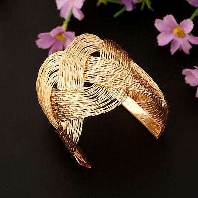 NEW Knitted Twisted Metal Rattan Women Wide Bracelet Woven Women Cuff Bracelet