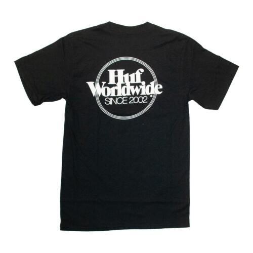"Men/'s Graphic T-Shirt Black HUF Worldwide /""Issues Logo Puff/"" Short Sleeve Tee"