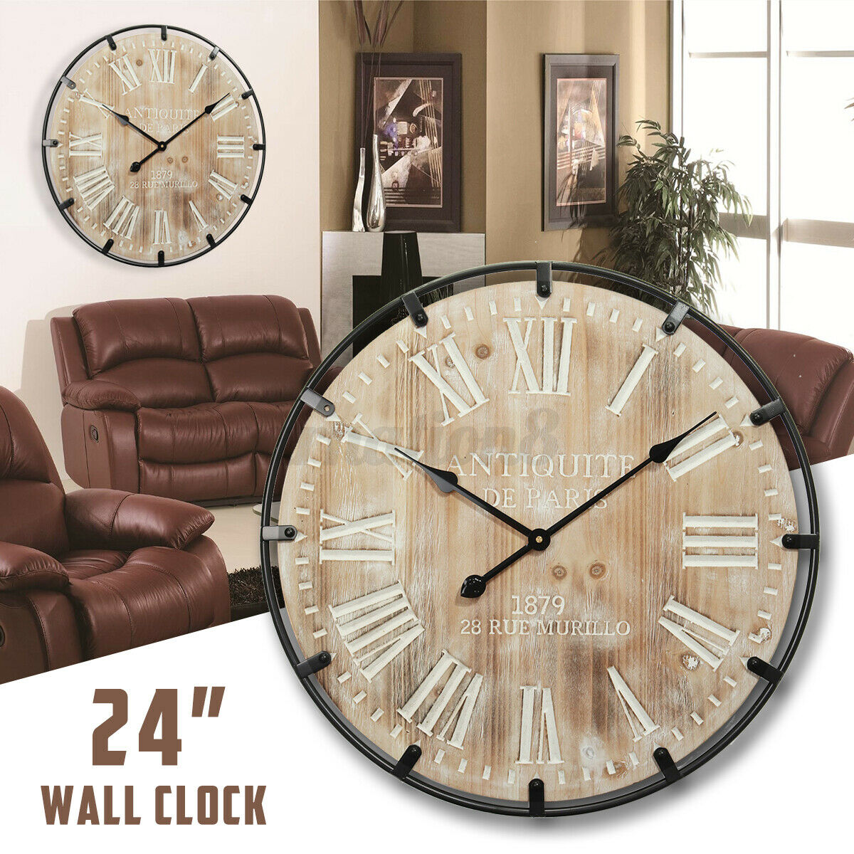 47cm//60cm Large Retro Black Iron Art Hollow Wall Clock Roman Numerals Home Decor