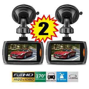 "2x Full HD 1080P 2.3"" Car DVR CCTV Dash Camera G-sensor Night Vision Recorder OU"