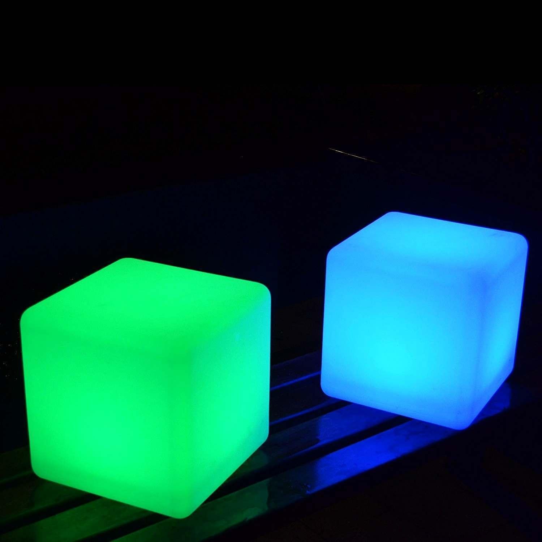 Lot de 2 humeur cube Lumières, 20 cm Changement De Couleur Lampes à distance par Pk Vert