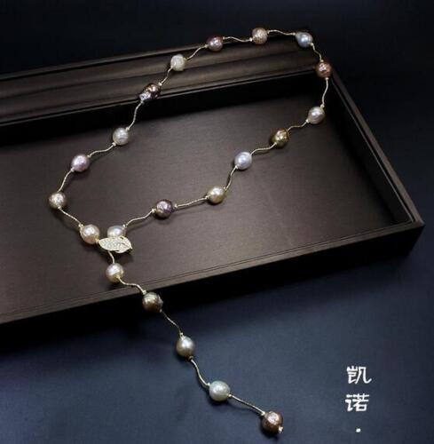Nouveau Design 13-14 mm South Sea baroque multicolore collier de perles 36 in environ 91.44 cm argent 925