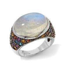 Colleen Lopez Rainbow Moonstone & Multigem Sterling Silver Ring Size 6 NIB HSN