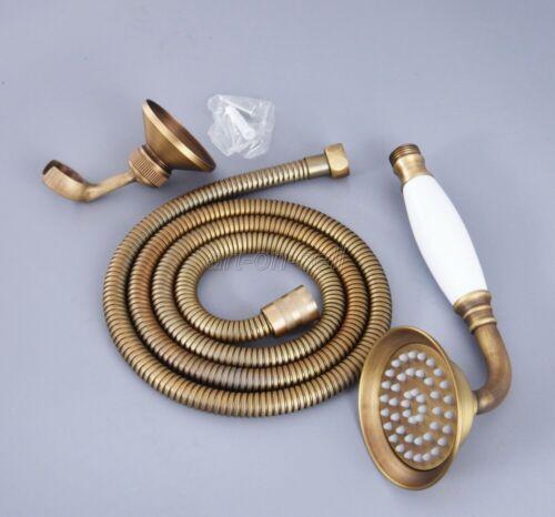 Antique Brass Bathroom Ceramic Handheld Shower Spray Head+1.5m Hose+Wall Bracket
