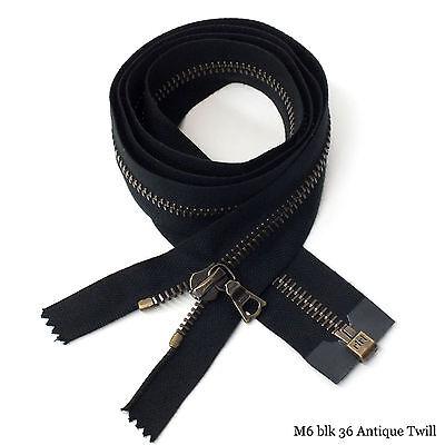 "Flach RiRi Zipper m6 36/"" 1 Way Separating End Antique Metal Black 2110 Twill"
