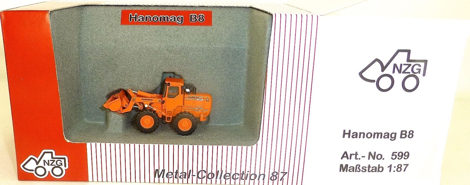 Hanomag B8 Radlader Radlader Radlader orange Nzg 599 Metal Collection 1 87 Ovp Ld2 Μ f59042