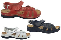 Ladies Shoes Be Me Tamika Buckle Leather Slingback Sandals Red Black White 6-10