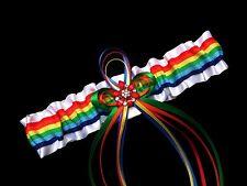 PLUS SIZE RAINBOW Stripes PRIDE SATIN GARTER Wedding PROM Bridal Gay Lesbian Bi