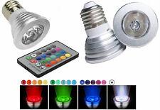Faretto RGB base e27.LED multicolor 3W.Faro lampada lampadina  GU + telecomando!
