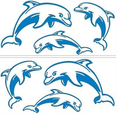 6 Delfine Aufkleber f. Deko Bad, Küche, Kacheln, Auto, Wandtattoo