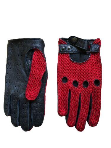 Crochet Driving Leather Gloves 2019 Model Men/'s Red Black