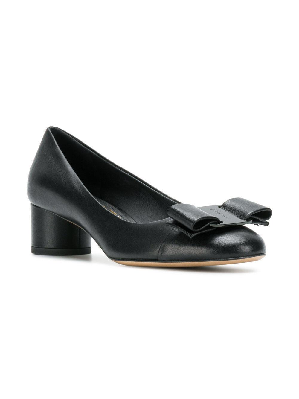 NIB NEW Salvatore Ferragamo Ivrea CT black white classic pumps shoes 5 9.5 10B