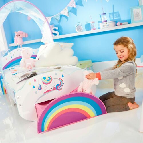 Entièrement Sprung Matelas Rainbow unicorn Junior Bébé Lit Avec Auvent de stockage//