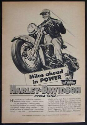 1949 Harley Davidson Hydra-Glide *This is the Life* vintage Motorcycle Ad
