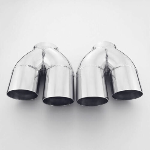 "Pair Quad 3/"" Staggered Out Exhaust Tailpipe Tips SS304 3/"" Inlet Dual Layer 8/"" L"