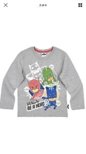Boys Official Character PJ Masks Long Sleeve T-SHIRT 3//4yrs