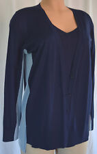 AKRIS PUNTO  COLOR BLOCK IN TONES OF BLUE WOOL TWINSET SIZE 12-10
