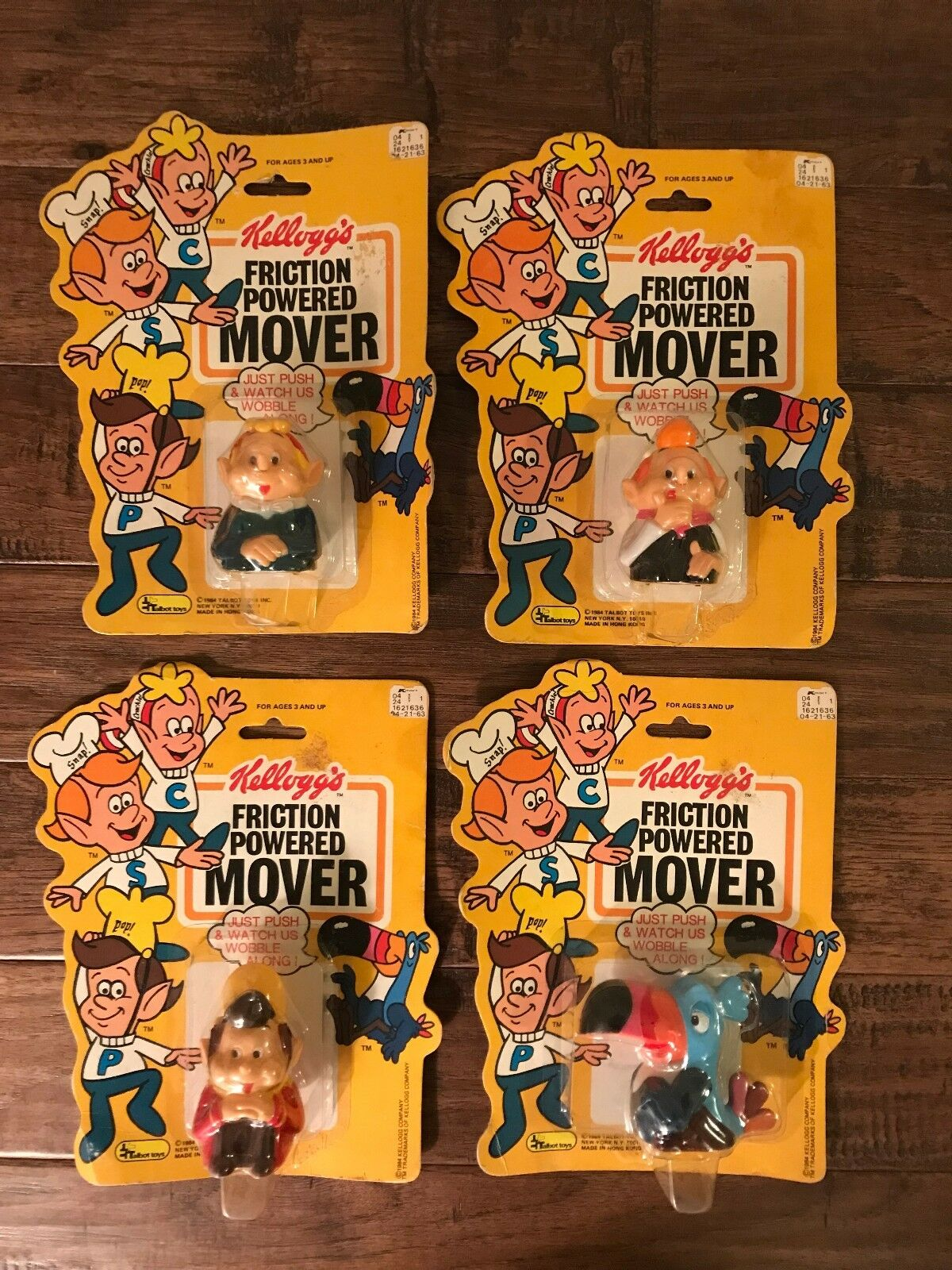 (4) {1984} Kellogg's  FRICTION POWERED MOVER  Figures, NEW  COMPLETE SET  RARE