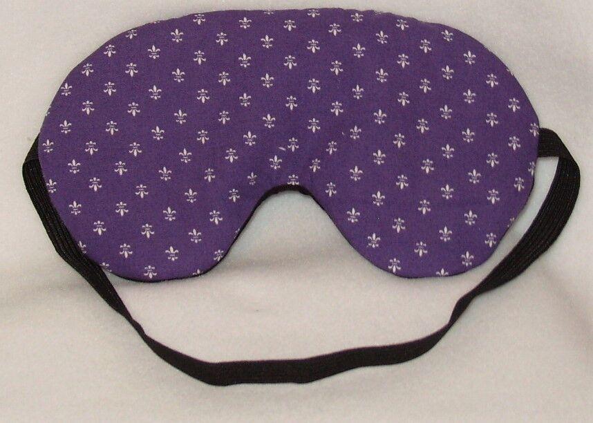 Handmade Purple Fleur de Lys coton Masque sommeil Masque coton Yeux Bandeau Blackout Migraine 182c89