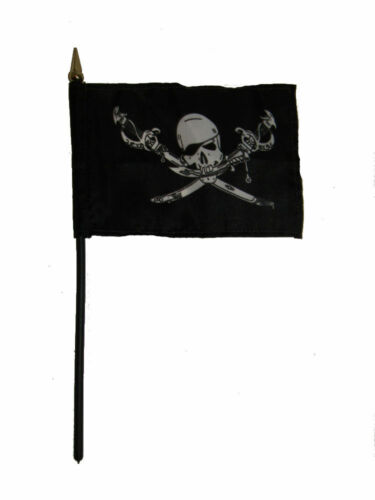 "Wholesale Lot of 6 Jolly Roger Pirate Brethren Coast 4/""x6/"" Desk Table Flag"