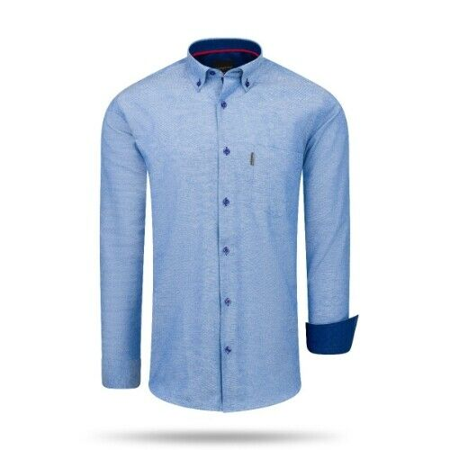 Cappuccino Italia Regular Fit Overhemd Royal Blau Große XXL