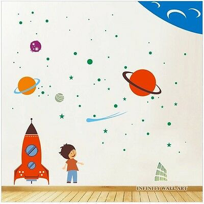 Mega Pack Spaceship and Stars Nursery Wall Art Decor, Wall Stickers - PD403