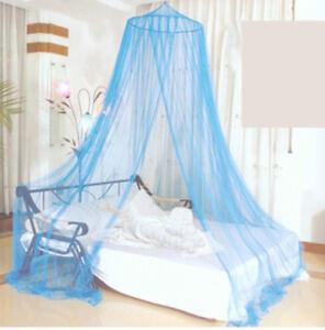 Mosca-Mosquito-Decorativa-Azul-Net-dosel-cama-malla-para-un-solo-doble-King-Size