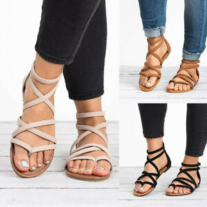 Women-039-s-Ladies-Summer-Casual-Rome-Solid-Open-Toe-Beach-Sandals-Zip-Flat-Shoes