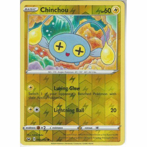 068//202 ChinchouCommon Reverse Holo Card Pokemon TCG Sword /& Shield Base Set