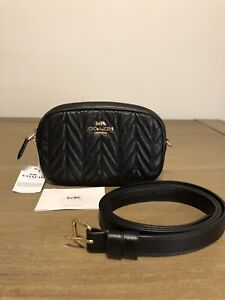 e102247e62 Details about COACH Belt Bag Fanny Pack In Quilted Pebbled Leather BLACK  NWT!