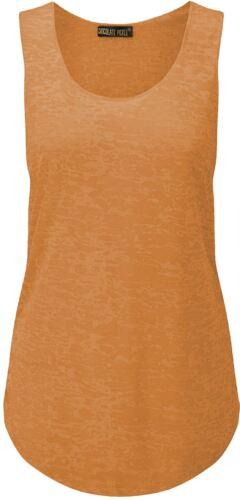 New Ladies Curve Neon Florescent Active Gym Burn Out Vest Tops 8-26