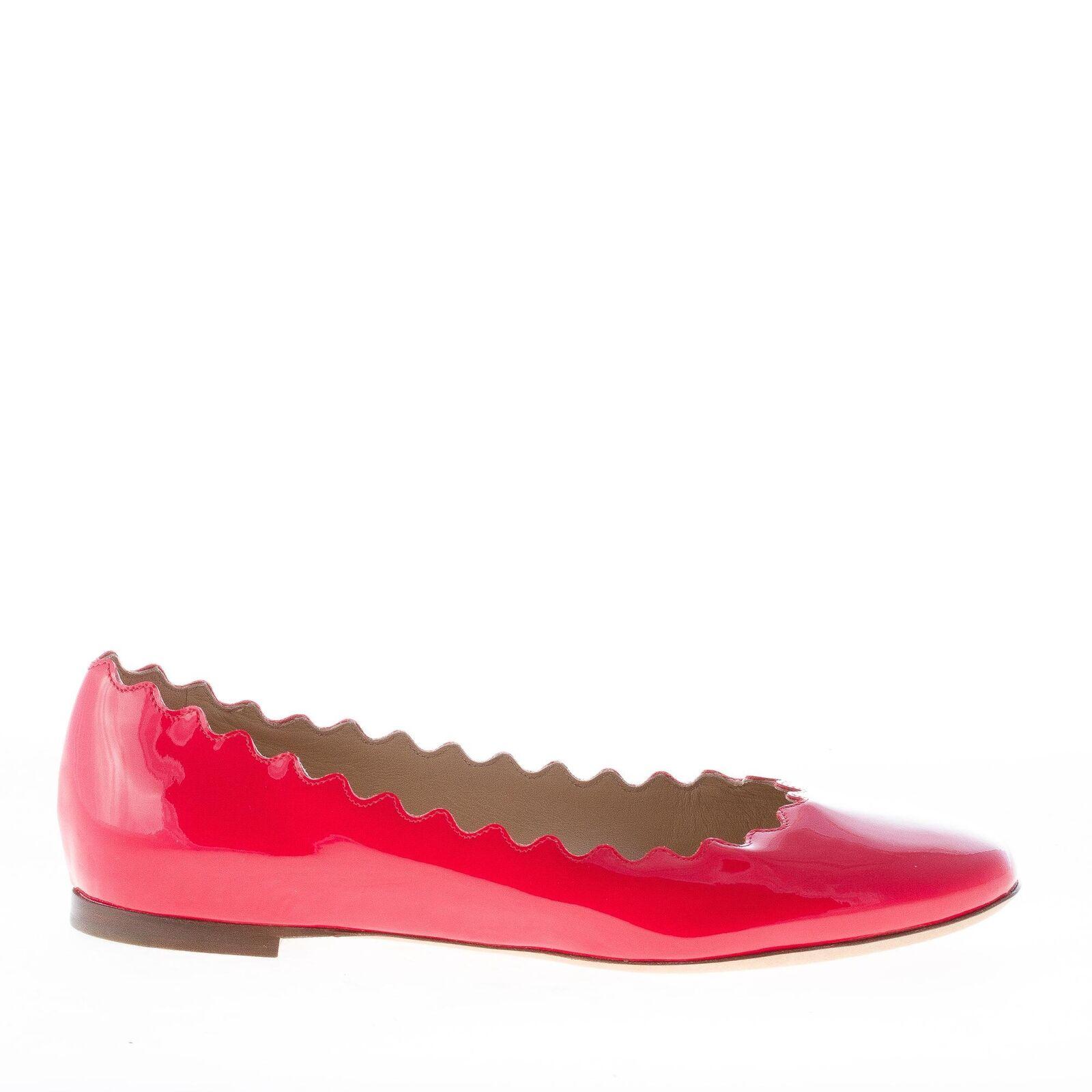 CHLOE' women shoes Lauren red patent leather ballerina scalloped edge CH24160E80