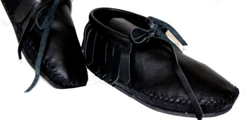 Black Leather Soft Moccasin low boot Western Indian fringe Pawnee Women all size