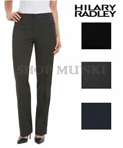 New Hilary Radley Women's Straight Leg Flat Front Dress Pants 10 x 30 Black