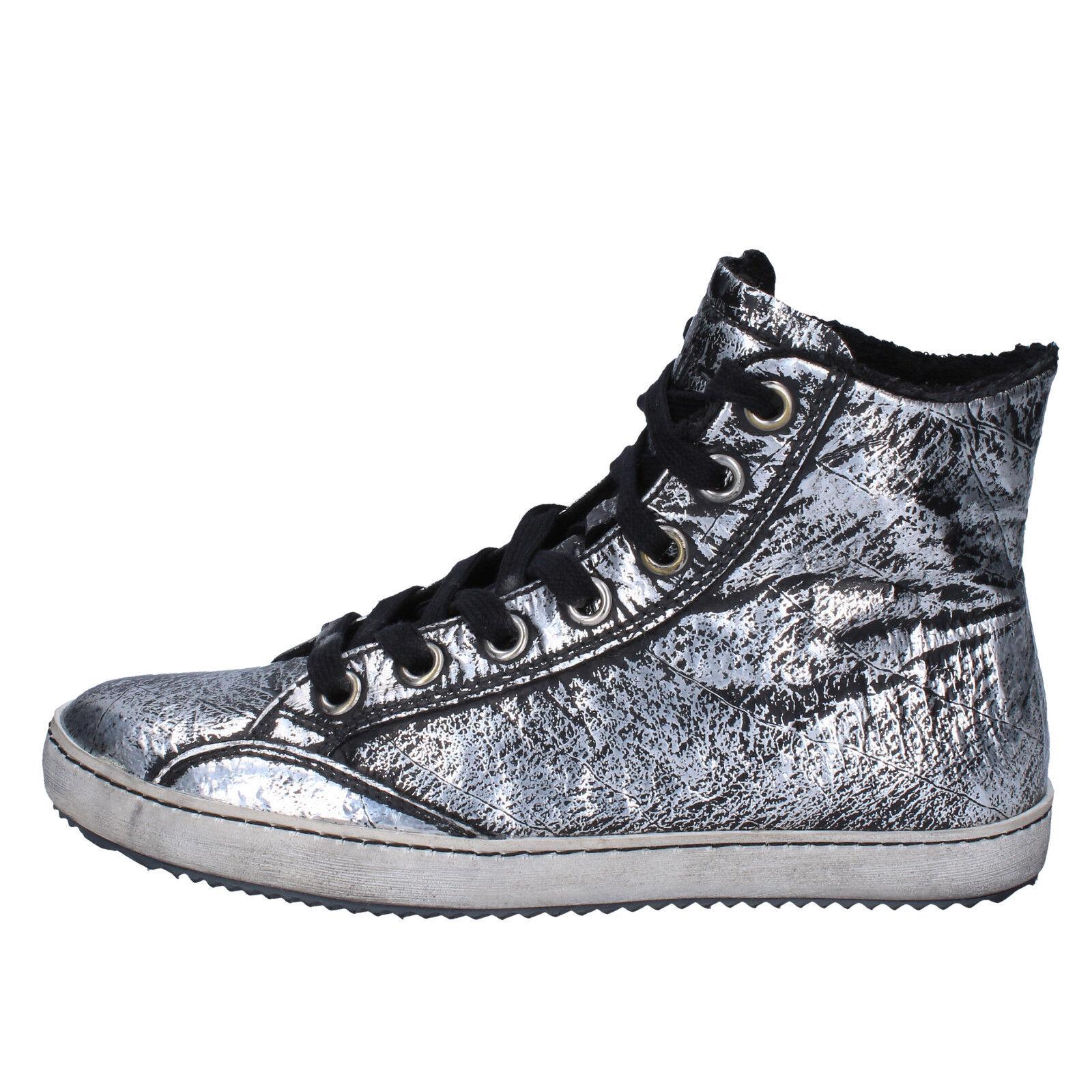 donna CULT 36 scarpe da ginnastica alti stivaletti nero argento pelle AK795-B