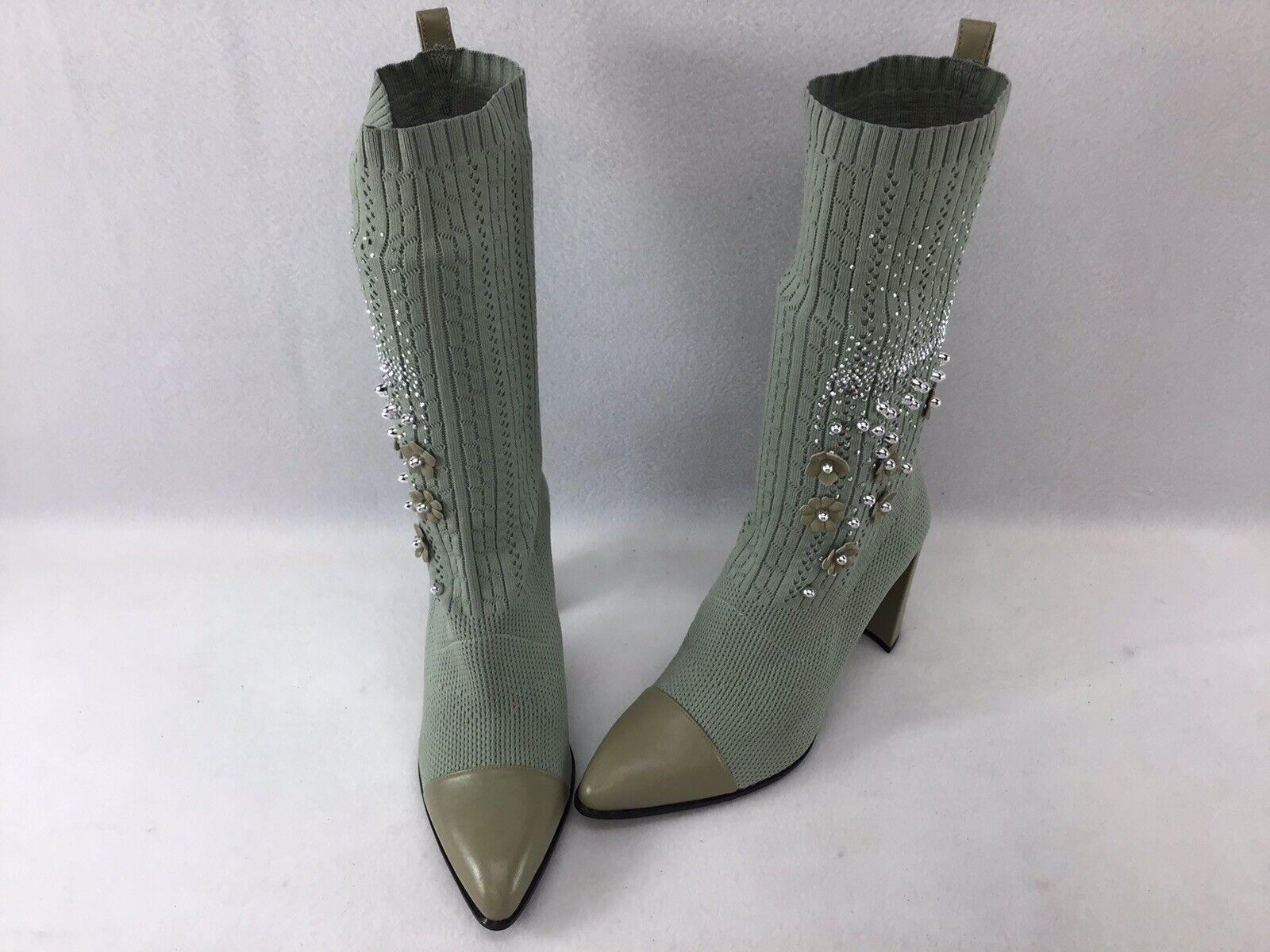 Stuart Weitzman Sockhop Mint Green Knit Leather Sock Booties Size Est. 9  H1190