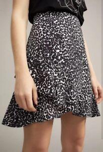 Witchery-Ruffle-Wrap-Skirt-sz10-Phantom-Leopard-Black-NWT