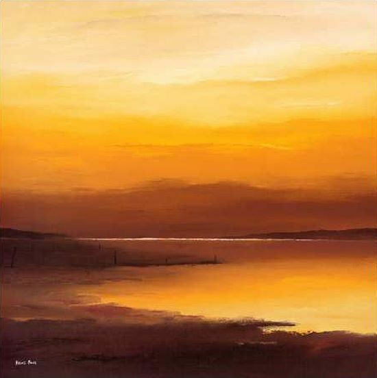 Hans Paus  Evening Sky I Keilrahmen-Bild Leinwand Meer Sonnenuntergang