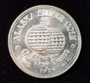1974 Alaska Silver Coin International Bartering Unit 1 Oz