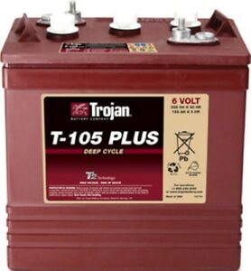BATTERY-TROJAN-T-105-PLUS-6V-225-Ah-Sure-Vent-Golf-Stud-Std-Terminals-EACH