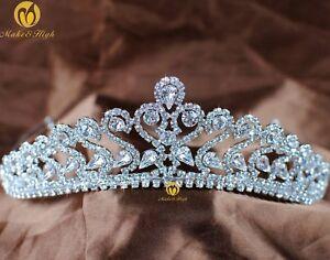Romantic-Tiara-Crown-Clear-Austrian-Rhinestone-Wedding-Bridal-Pageant-Prom-Party