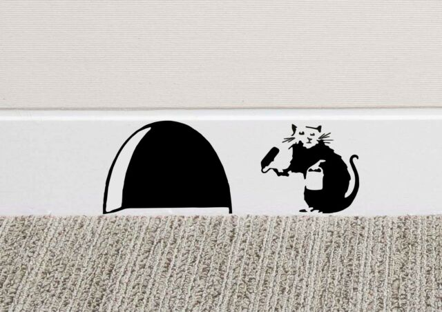 B039 Banksy Rat Hole Wall Art Sticker Vinyl Decal Mice Home Skirting ...