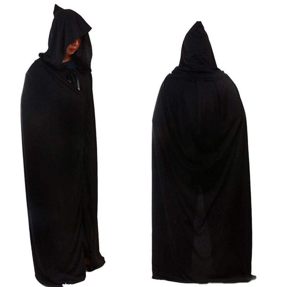 Adult Men Black Cape Cloak Robe Halloween Vampire Wizard Fan