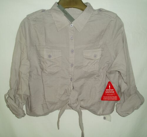 SOUTH TIE BLOUSE ROLL SLEEVES SHIRT TOP WASHED KHAKI COLOURS SIZE 14-24