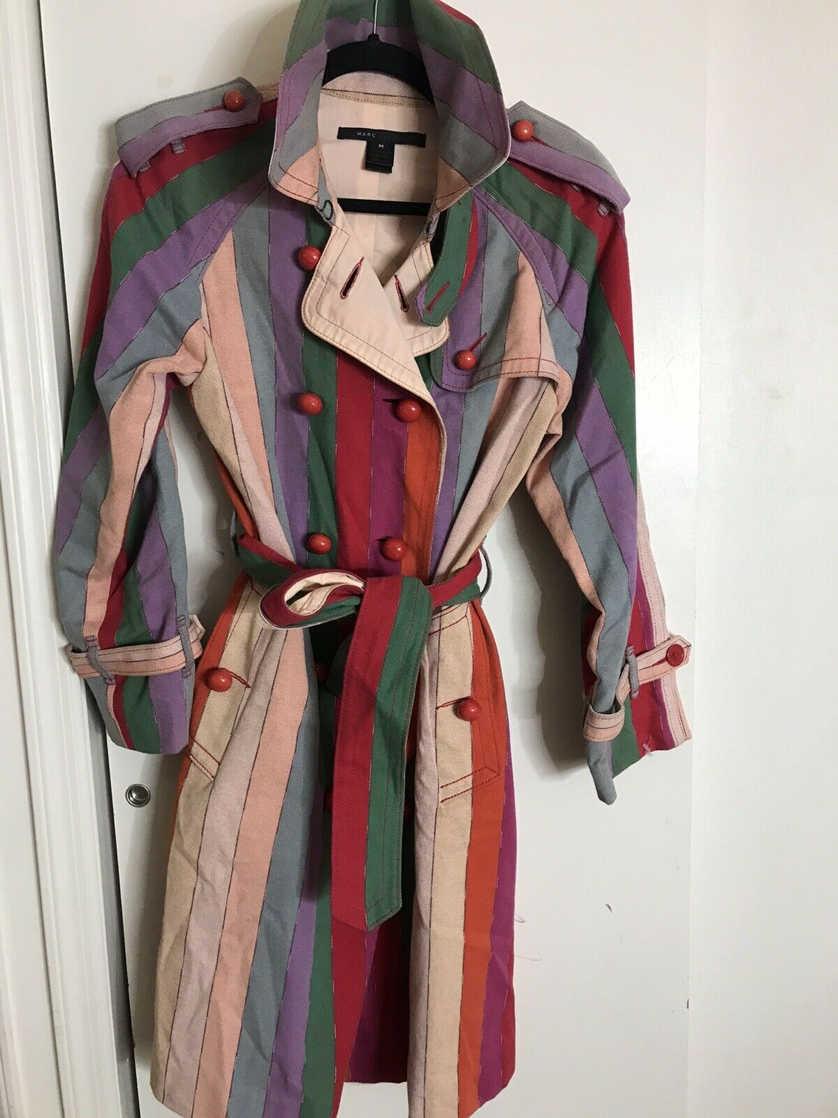 MARC JACOBS Multi Color Trench Coat Medium msrp $… - image 1