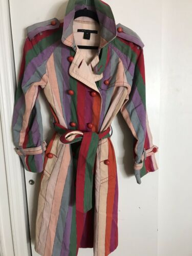 MARC JACOBS Multi Color Trench Coat Medium msrp $8
