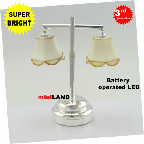 Modern table Lamp Silver SUPER bright battery LED LAMP Dollhouse miniature light
