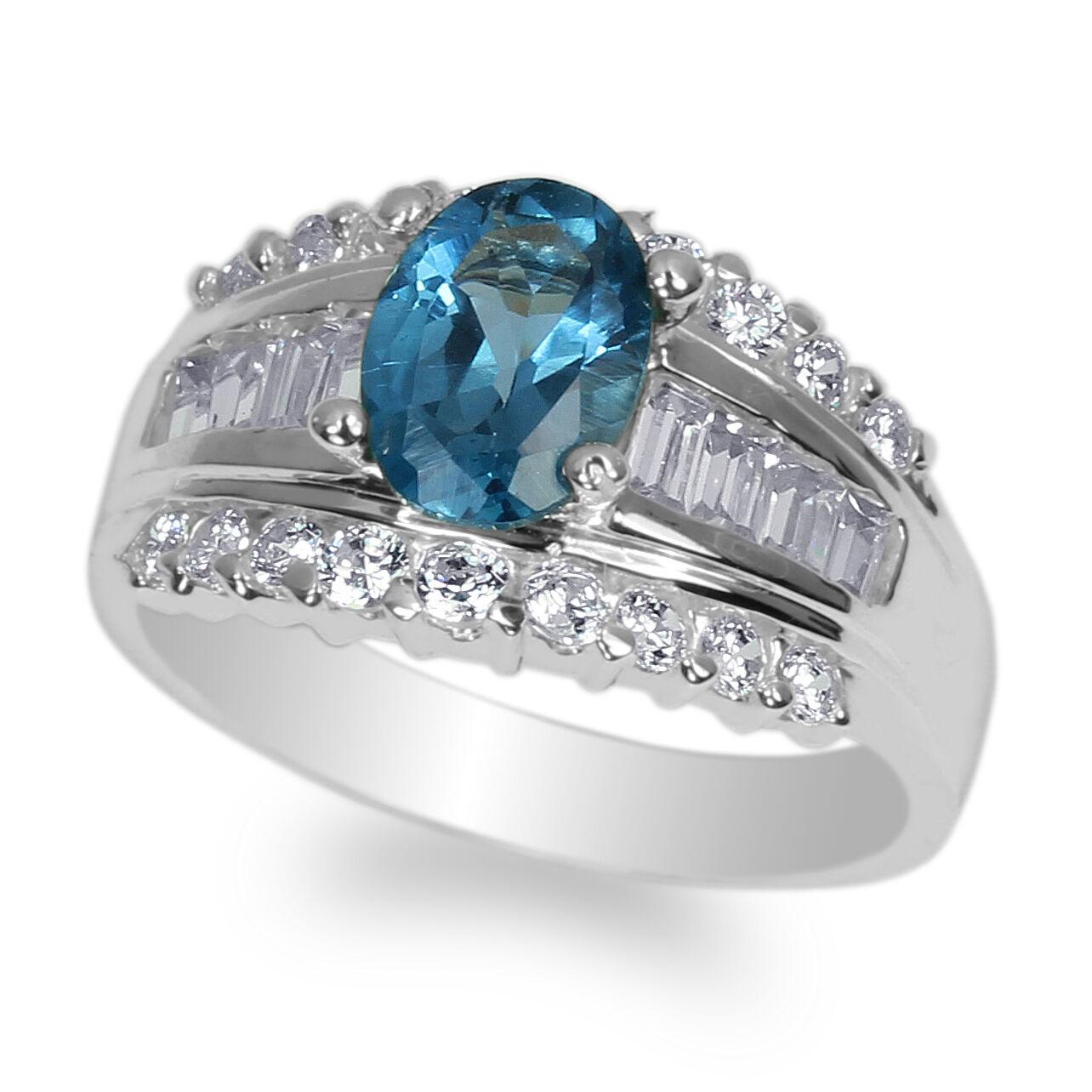 14K White gold 1.25ct Oval bluee Topaz Cubic Zirconia Fancy Ring Size 4-9