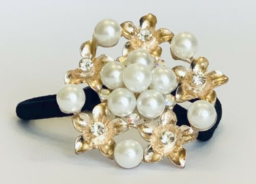 Flowers brooch hair tie for girls and women hair accessory pony tail holder